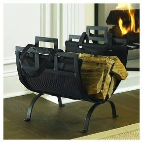 The transitional design of this wrought iron log holder with canvas log tote fits perfectly with any décor. The frame is constructed from 100% steel and is powdered coated with a Black finish that adds both beauty and durability. The canvas tote will hold and transport wood as needed. This log holder comes 100% pre-assembled just insert the tote.