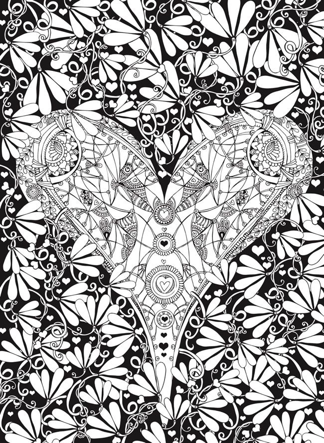 beautiful creative haven hearts coloring book romantic designs on a dramatic black background with fractal coloring pages - Fractal Coloring Book