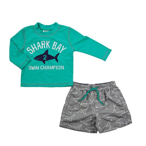 "Carter's Boys 2 Piece Blue ""Shark Bay"" Long Sleeve Rash Guard and Printed Swim Trunks Set- Infant/Toddler - Amerex - Babies""R""Us"