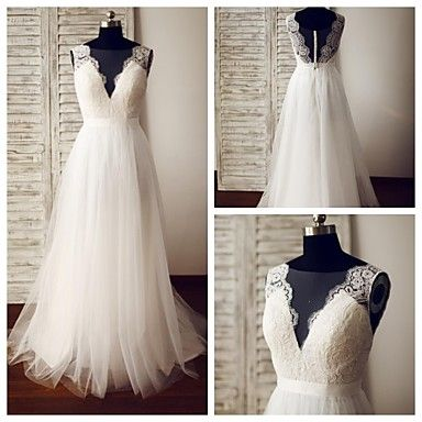 A-line Wedding Dress - Ivory Sweep/Brush Train Scoop Lace / Tulle – USD $ 139.99