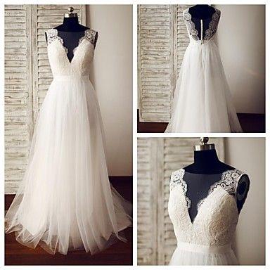 Vestido+de+Noiva+-+Marfim+Trapézio+Em+V+Cauda+Escova+Renda+/+Tule+–+EUR+€+137.19