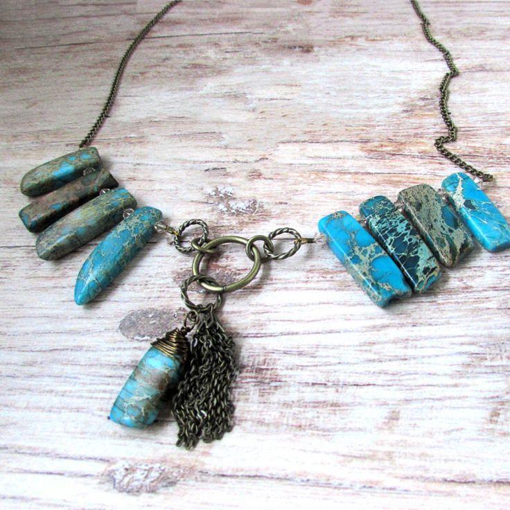 Tribal Gemstone Necklace by Raziela Designs