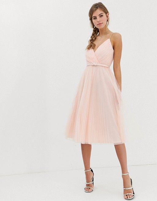 dd6757aea DESIGN belted pleated tulle cami midi dress in 2019 | To do with B ...