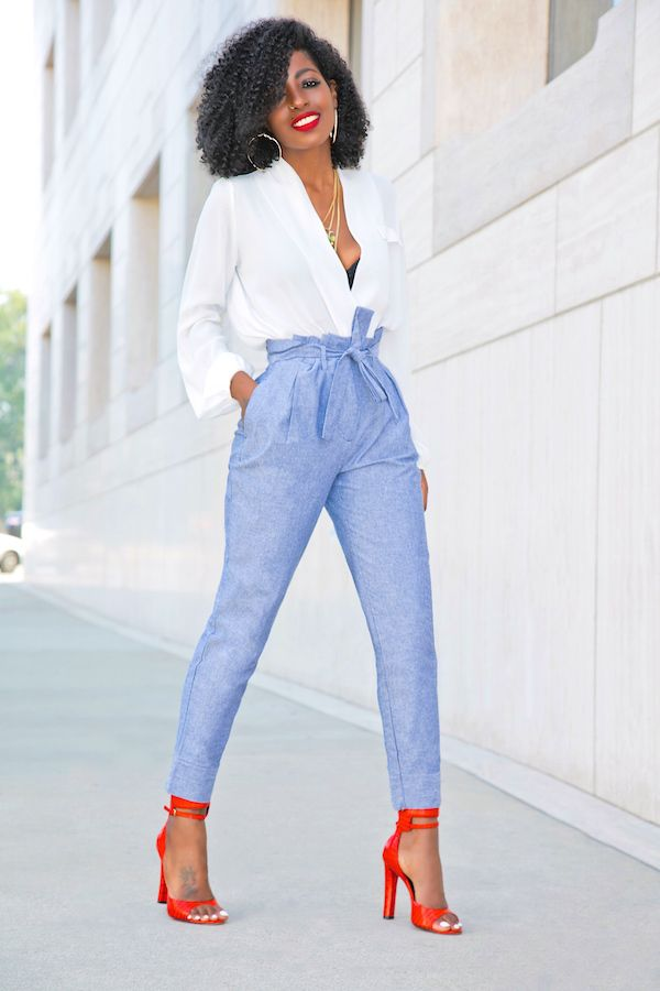 Style Pantry   Draped Long Sleeve Blouse + High Waist Chambray Pants