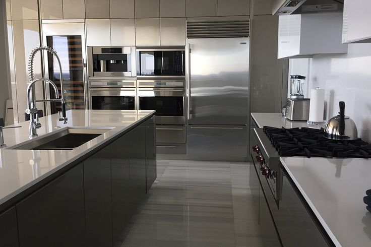 Snaidero WAY + CODE kitchen cabinetry design in contemporary Grey Pearl and Titanium High Gloss Lacquer | The St. Regis Bal Harbour Residences, Miami, FL | Designer: Giulio Petrilli, VP  | #SnaideroUSA | Multihousing Division