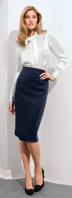 blue pencil skirt white satin blouse and black high heels