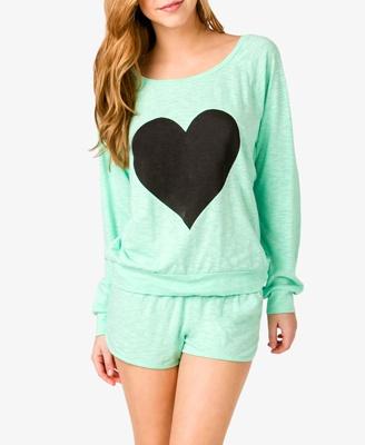 Slub Knit Heart PJ Set - Mint/Black.