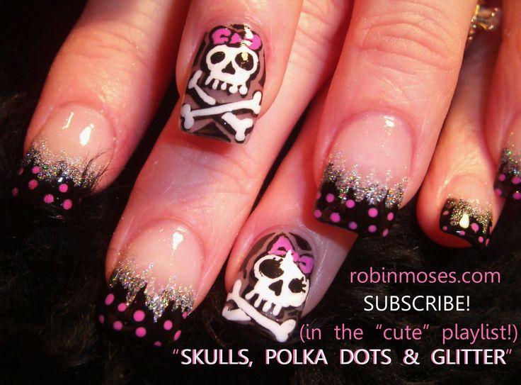 skull nail designs | ... nail, black animal print nail, emo skull nail, goth skull nail, girly