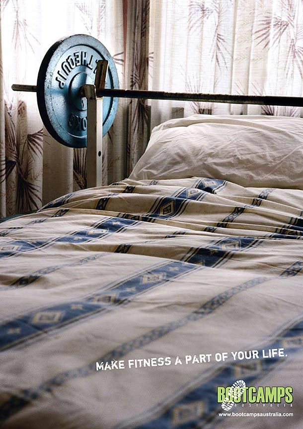yoga fitness ads bootcamps bed1 35 Creative Fitness Ads To Encourage You