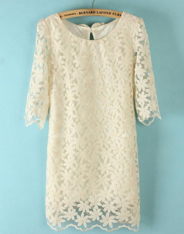Beige Half Sleeve Back Bow Lace Dress