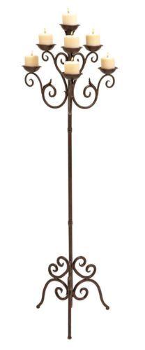 NEW Wrought Iron RENAISSANCE MULTI 7 PILLAR FLOOR CANDELABRA Candle Holder Stand