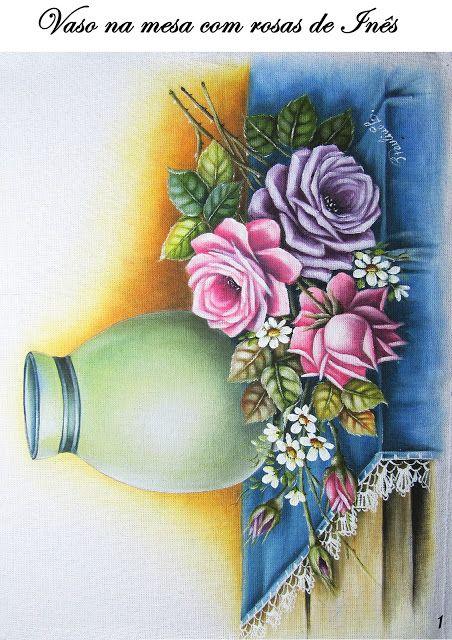 Inês No Mundo Das Artes!: Risco de vaso com rosas na mesa!