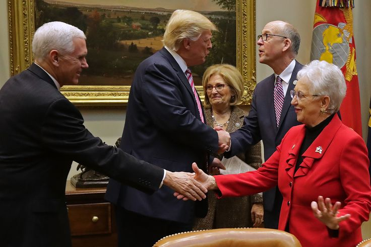 WASHINGTON, DC - MARCH 10:  (L-R) U.S. Vice President Mike Pence and President Donald Trump greet House of Representatives committee leaders (L-R) House Budget Committee Chairwoman Diane Black (R-TN), Energy and Commerce Committee Chairman Greg Walden (R-WA) and Education and Workforce Committee Chairwoman Virginia Foxx (R-NC) before a meeting to discuss the American Health Care Act in the Roosevelt Room at the White House March 10, 2017 in Washington, DC. The proposed legislation is the…