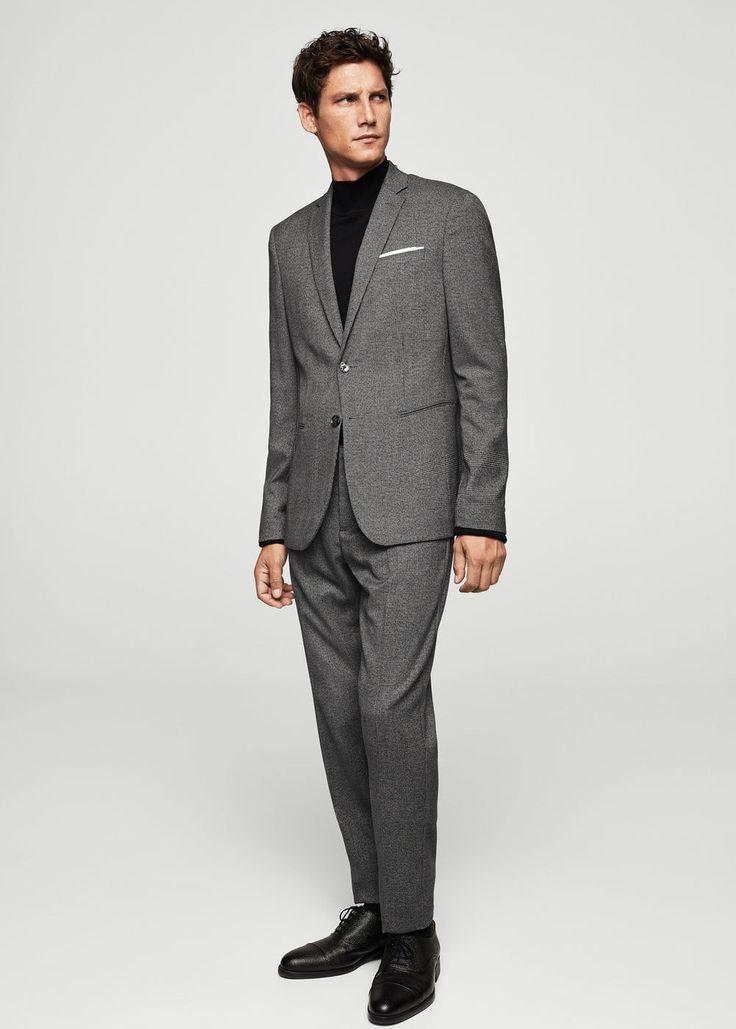 Prince of wales super slim suit blazer | MANGO MAN