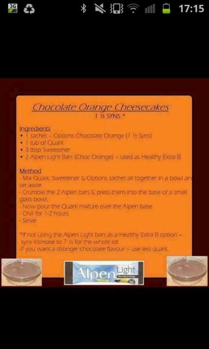 slimming world choc orange cheesecakes