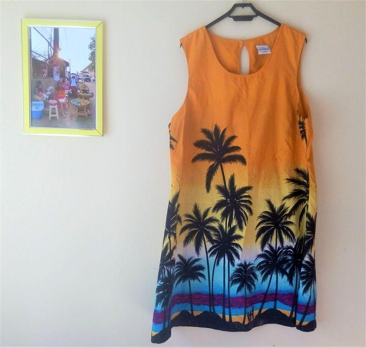 Vestido surfero hawaiano playa // Palmeras // Puesta de sol // Verano // Naranja Amarillo Azul Morado // High Seas Resort Wear // Talla XL de TropicalaffaireES en Etsy
