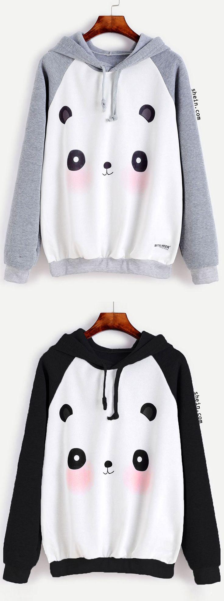 Cartoon Panda Print Raglan Hoodie