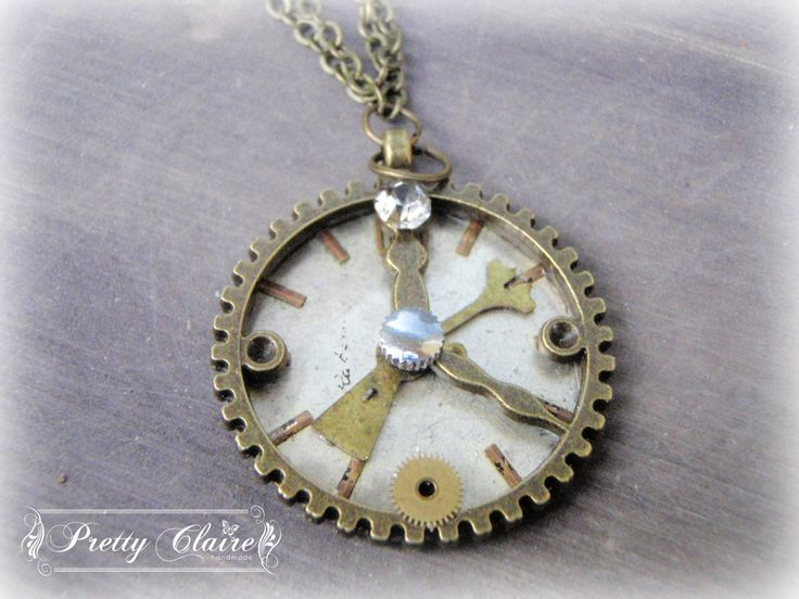 Steampunk watch necklace, steampunk handmade pendant, clock pendant, unique gift, unique jewelry, special necklace by PrettyClaire on Etsy