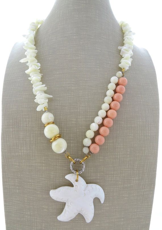 Starfish necklace pink coral necklace white mother of pearl