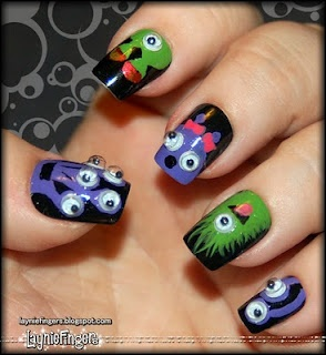 Monster nails with googly eyes
