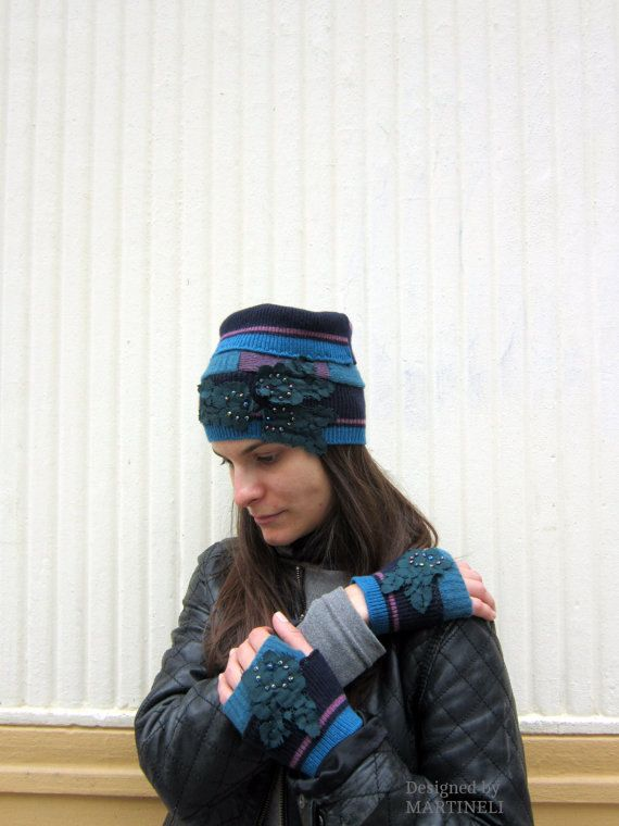 Blue Recycled Gloves Boho Chic Gloves Fingerless by MARTINELI