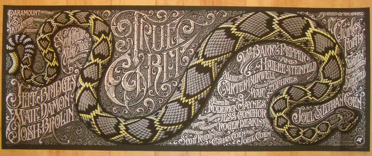 True Grit - variant silkscreen movie poster. Artist: Aaron HorkeyMovie Posters, Variant Silkscreen, Aaron Horkey, True Grits, Concerts Posters, Silkscreen Movie