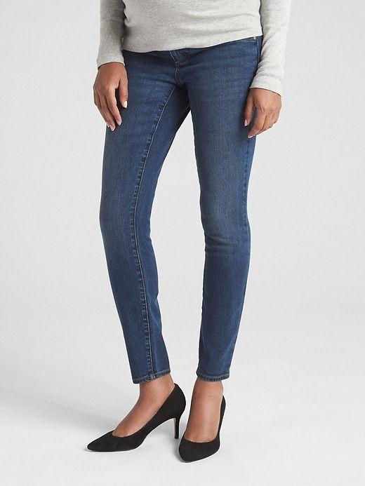e217db5e38fb1 Gap Womens Maternity Soft Wear Inset Panel True Skinny Jeans Dark Wash