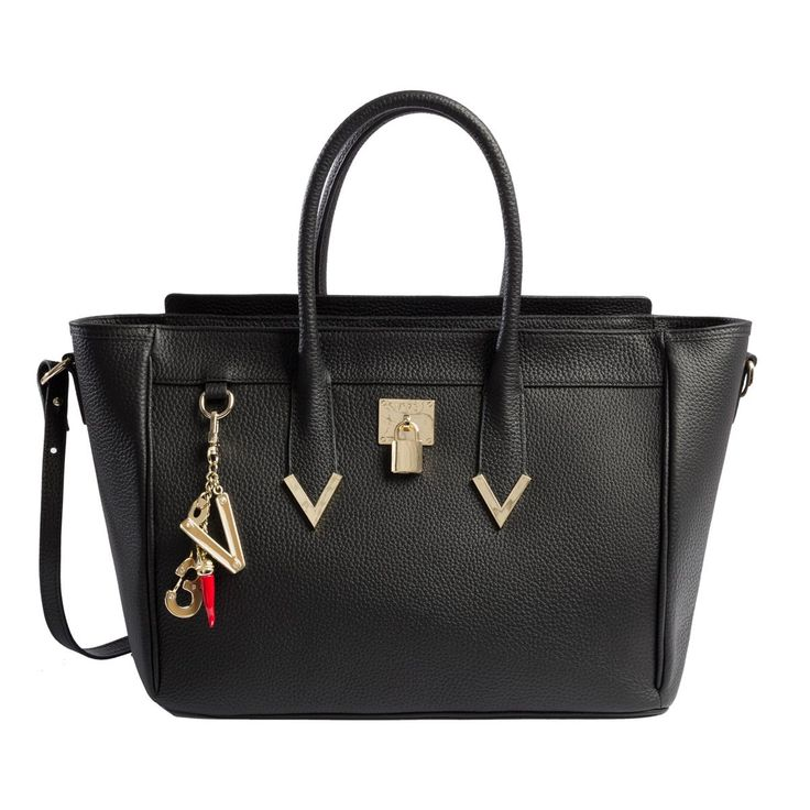 #V73 Elisir Maison Black Leather Bag whit zip closure, Charms shown in photo included, Metal feet at the base 50 x 27 x 18 Shop now: http://www.v73.it/en/pelli-pregiate/elisir-maison