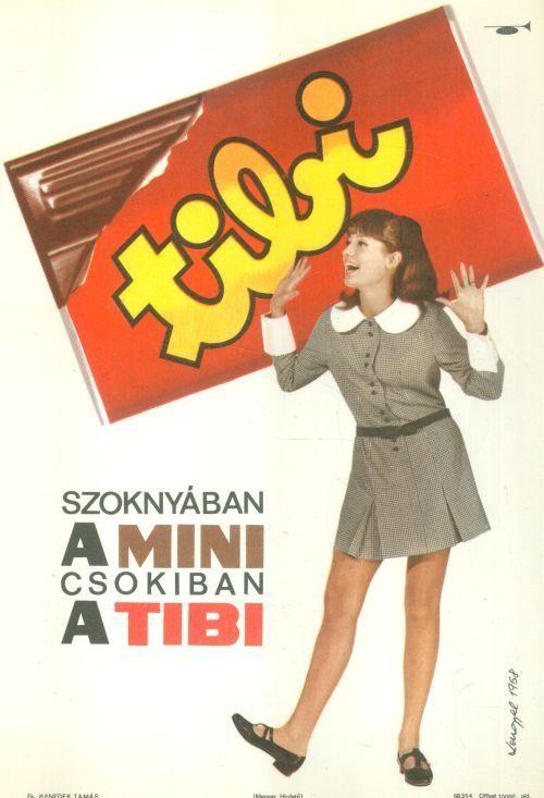 Lengyel Sándor (graf.) - Szoknyában a MINI csokiban a TIBI (Villamosplakát) 1968 - Múzeum Antikvárium