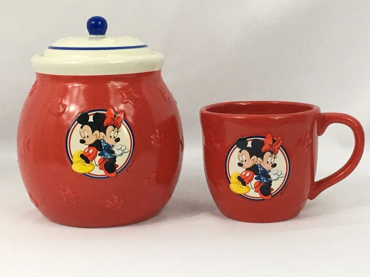 disney mickey minnie cookie jar coffee mug set ceramic red white blue stars 3d disney