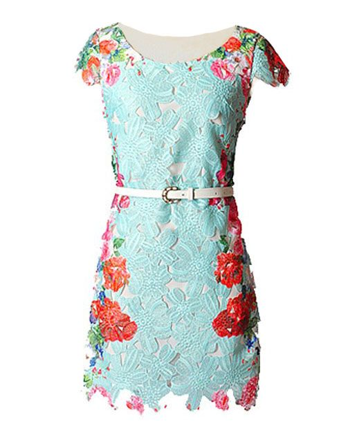 Multicolor Floral Print Embroidered Hollow Out Lace Dress @ ChicNova $55