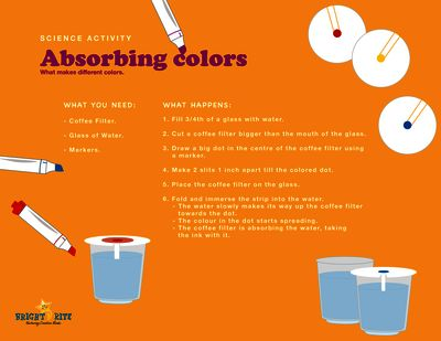 Absorbing colours from BrightNRite from BrightNRite on TeachersNotebook.com (1 page)  - Absorbing colours is a fun activity to explore what makes the different colours, Let your child be amazed to see water travel and change colour.