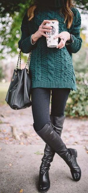 #fall #outfits / Green Knitted Cardigan - Black Tall Boots  Remember Wrhel.com - #Wrhel