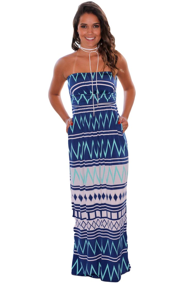 Chicloth Navy Geometric Strapless Maxi Dress with Pockets