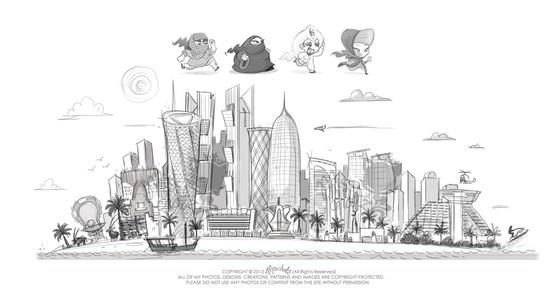 doha skyline art sketch qatar towers arab arabian middle east ...