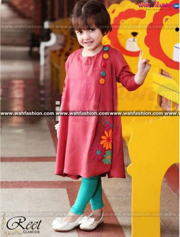 Light Coral Embroidered Kids Kurti