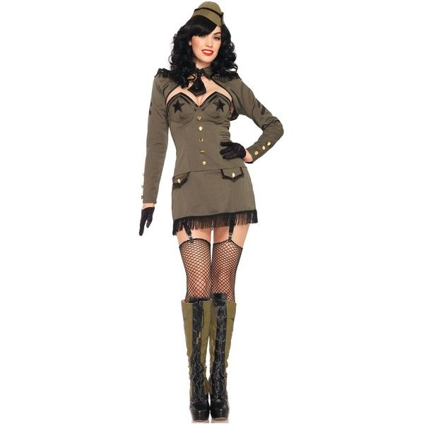 Pin Up Army Girl Costume ($75) ❤ liked on Polyvore featuring costumes, halloween costumes, star costume, shrug cardigan, pin up costumes, pinup halloween costume and army pin up costume