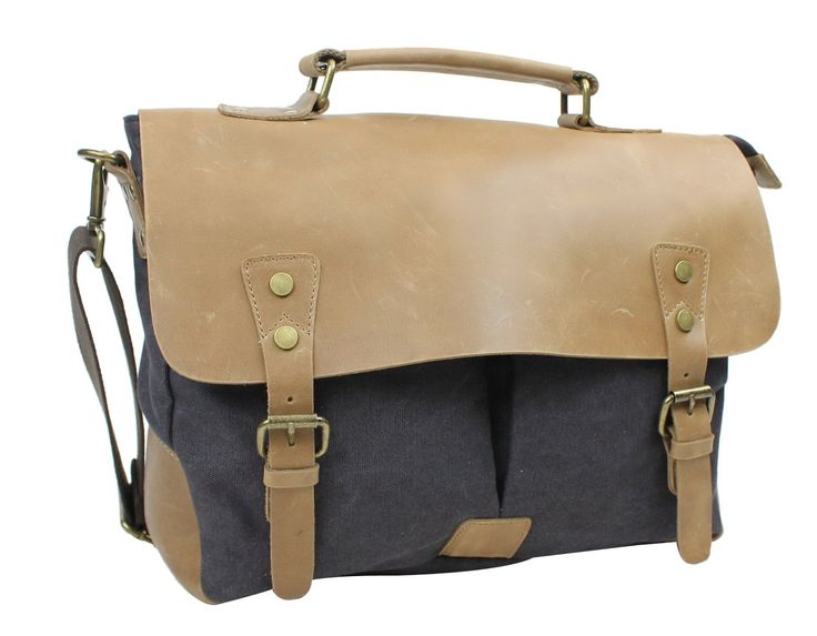 Casual Style Cowhide Leather Cotton Canvas Laptop Bag C43.Grey