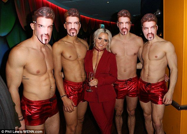 Blushing? Chloe Paige rivalled the chesty displays of her taut-torsoed companions as she attended a George Michael tribute bash at the Tropicana Beach Club in Covent Garden on Friday