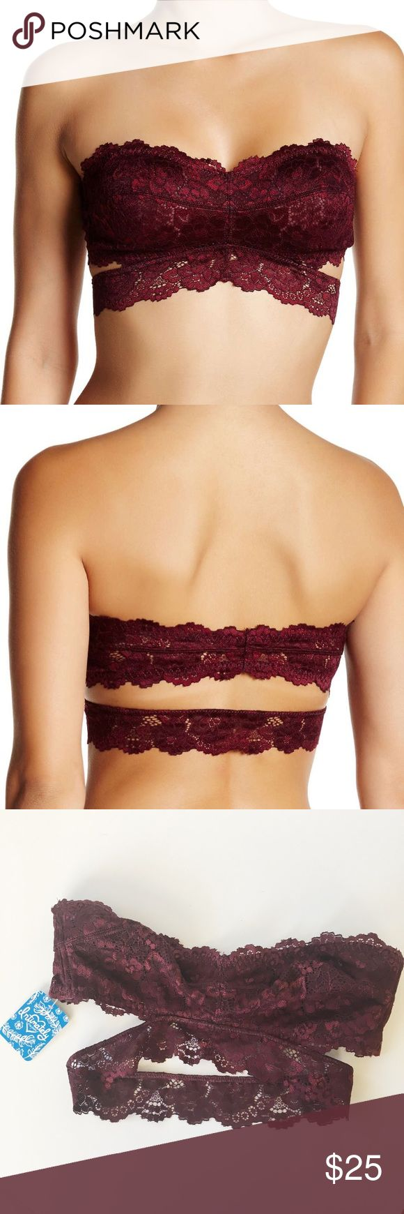 Free People Lace Bandeau Bralette New with tags lace strapless bralette in wine color. Size XS. By Intimately by Free People. Free People Intimates & Sleepwear Bras