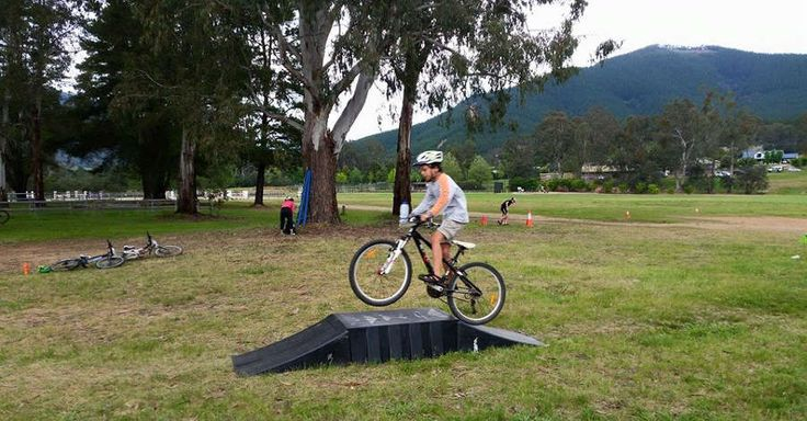 Young Mountain Bike Rider learning skills at the local cycling club