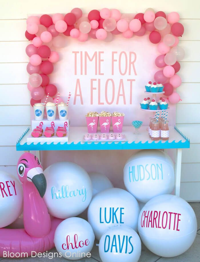 Summer pool party is a must! Style your own easy and fun party by adding flamingo, beach balls and personal detail using some of our simple DIY