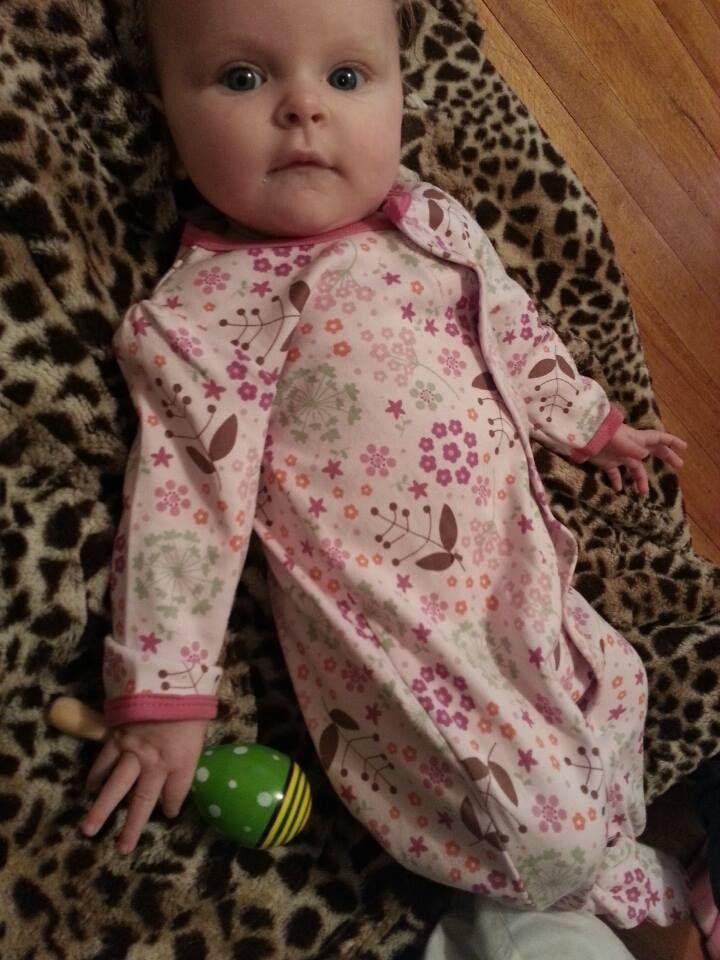 Baby Kelda relaxing in her Magnificent Baby Mod Floral Footie