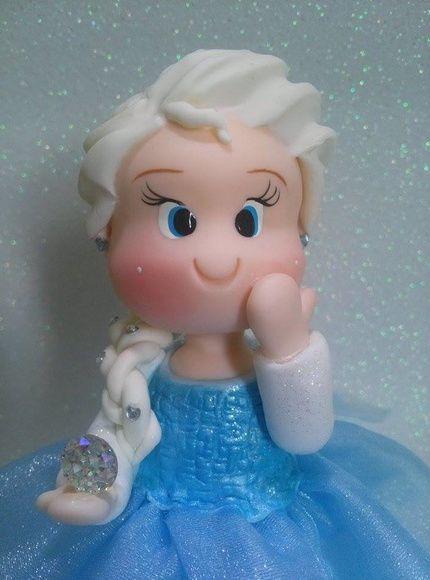 Topo de Bolo Elsa Frozen com vela
