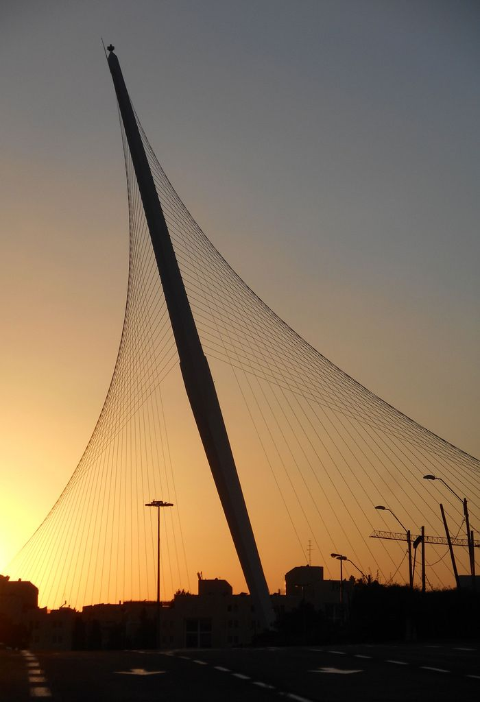 Jerusalem. The Chords Bridge also called the Bridge of Strings. Situated not far away from Jerusalem Central Bus Station