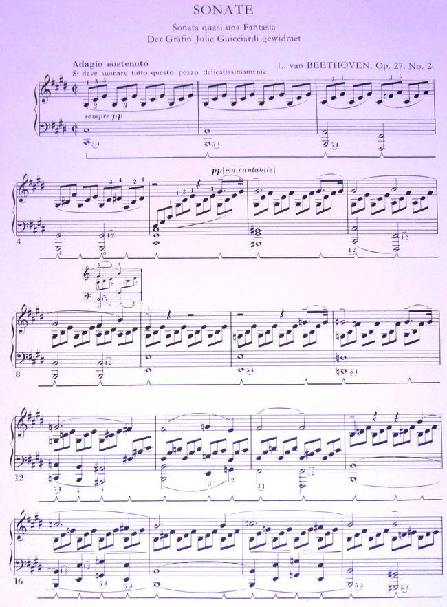 Лунная соната. Ноты для фортепиано.