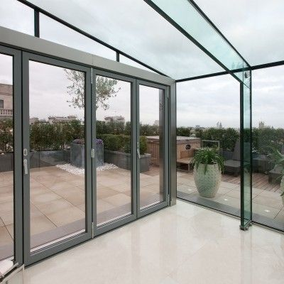 Ex&le of a vertical and slope roof with frameless structural glazing. & 16 best Folding / Sliding Glass Doors images on Pinterest | Glass ...