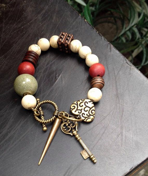 Cream Mahogany Olive Green and Brown Bead