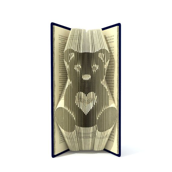Book folding pattern - TEDDY BEAR  - 141 folds + Tutorial with Simple pattern - Heart - AN0801