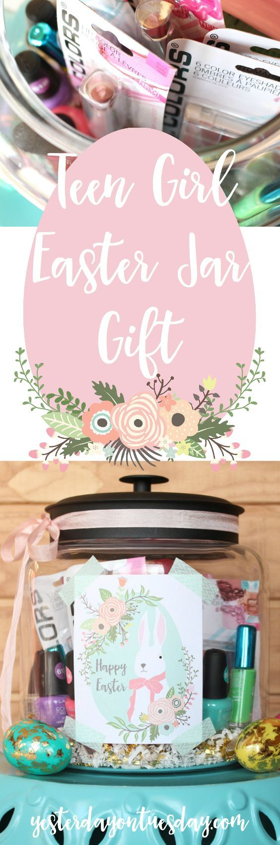 Teen Girl Easter Jar Gift: Pretty Easter present idea for teen girls including Easter printables.  Easter | gift | teen | girl | makeup | jar | printable